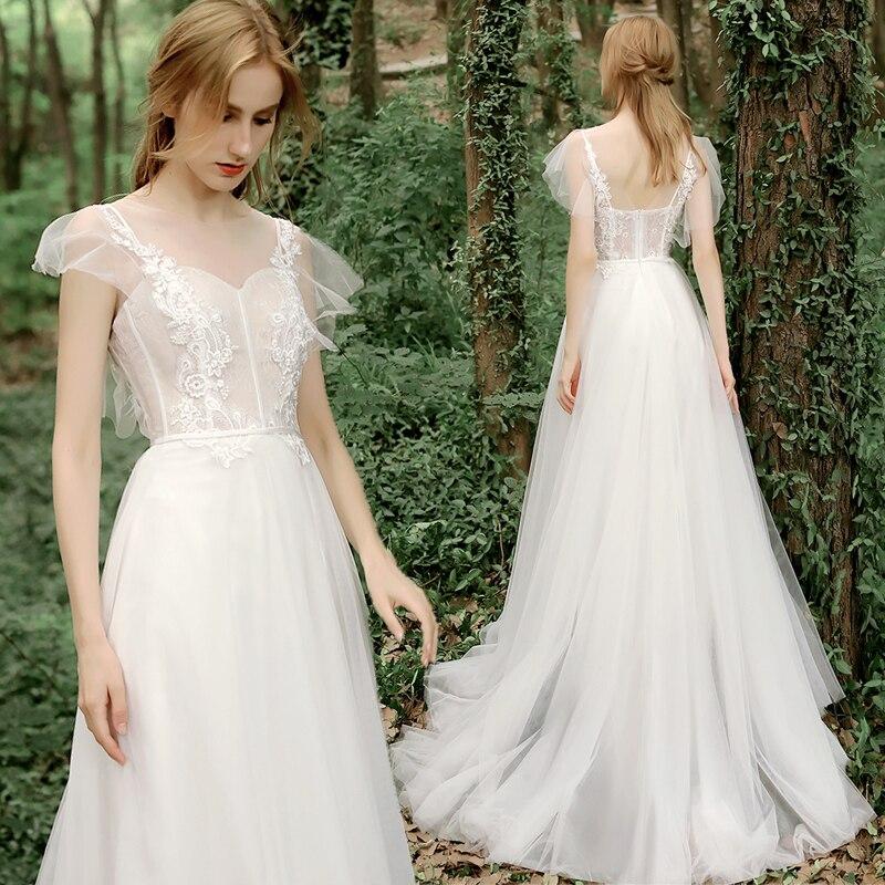 Vintage Boho Wedding Dress For Women 2021 robe de mariée Open Back A Line Wedding Gowns Summer Applique Lace Bridal Dresses