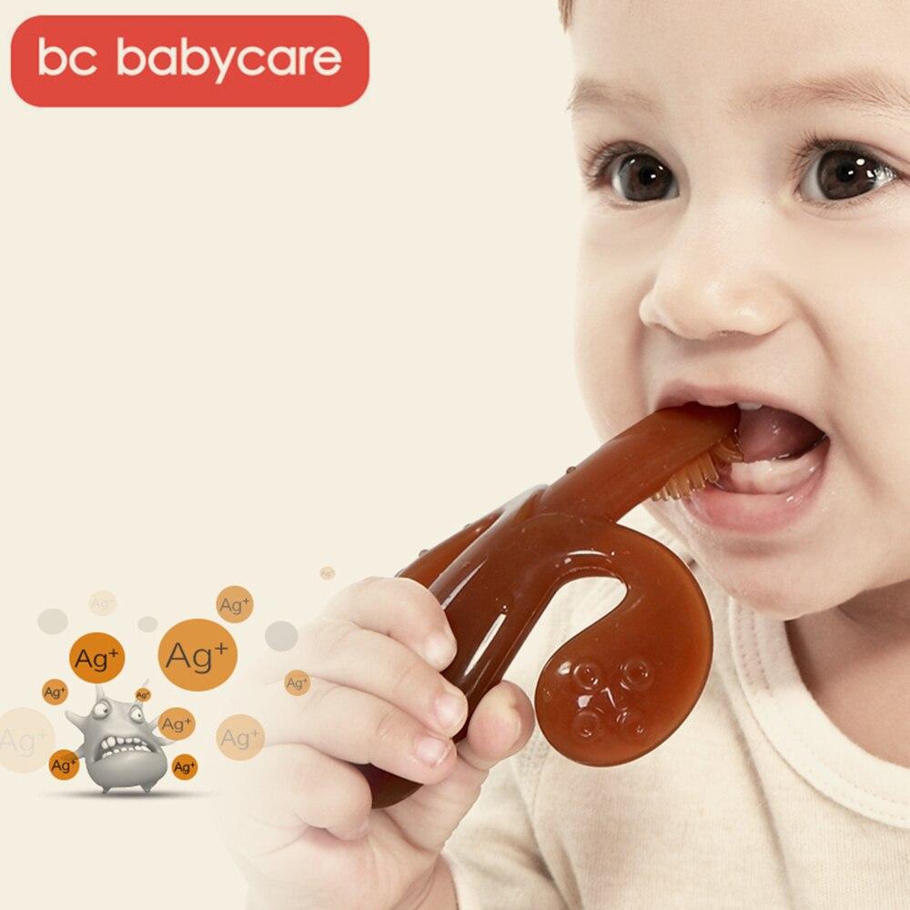 BC Babycare de alta calidad de plata Nano de silicona bebé seguro cepillos dentales de entrenamiento fácil claro suave Deformable mordedor Banana para bebé