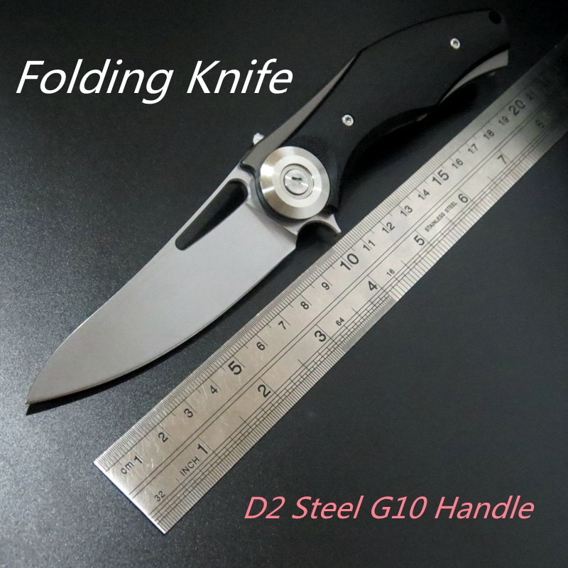 Folding Knife D2 Steel G10 Handle Outdoor Self-defense Camping Survival Rescue Military Tactical Hunting EDC Jackknife