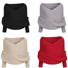 Women Solid Scarf  Sleeve Crochet Knit Long Soft Winter Shawl  2021 spring winter Men Women All-matc