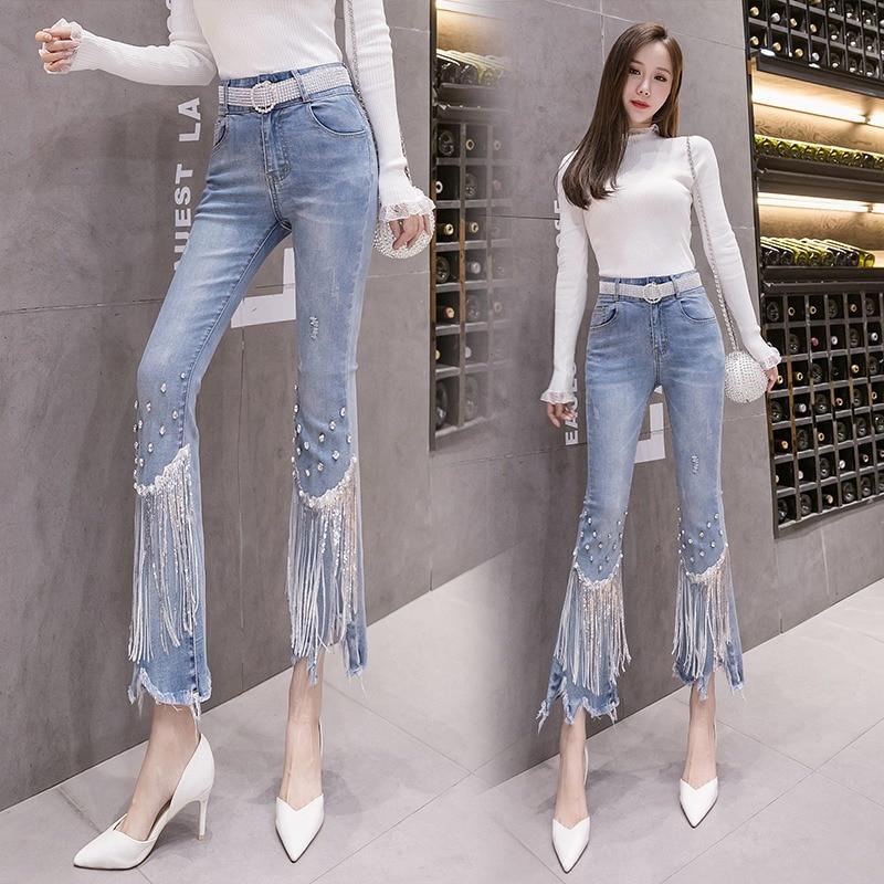 Denim Bell-Bottom Pants Women's Spring and Autumn 2021 New Slimming High Waist Tassel Loose Drooping