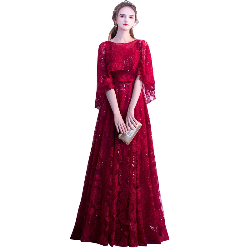 Wine Red Sequined Lace Long Prom Dresses 2019 A-line Scoop Neck With Jacket Floor-length  Plus Size Formal Dresses For Women