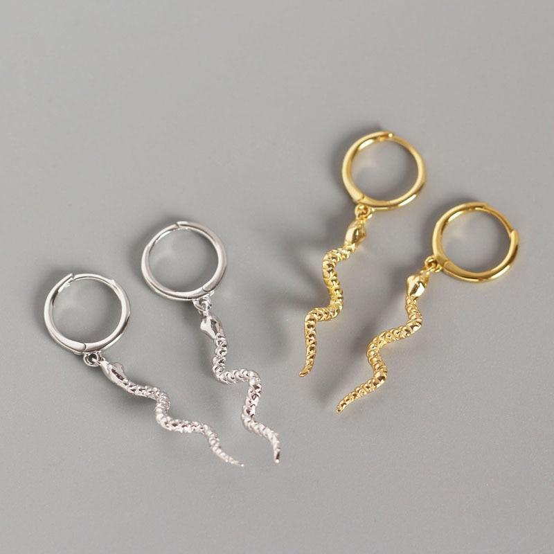 KOJ 925 Silver Small Hoop Earrings With Snake Dangle Unusual S925 Sterling Plata Ear Rings For Women