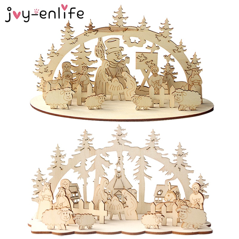 1 Conjunto de Navidad creativo mesa de madera bricolaje decoración muñeco de nieve Iglesia 2020 de Año Nuevo de la decoración de la Navidad de Navidad Decoración