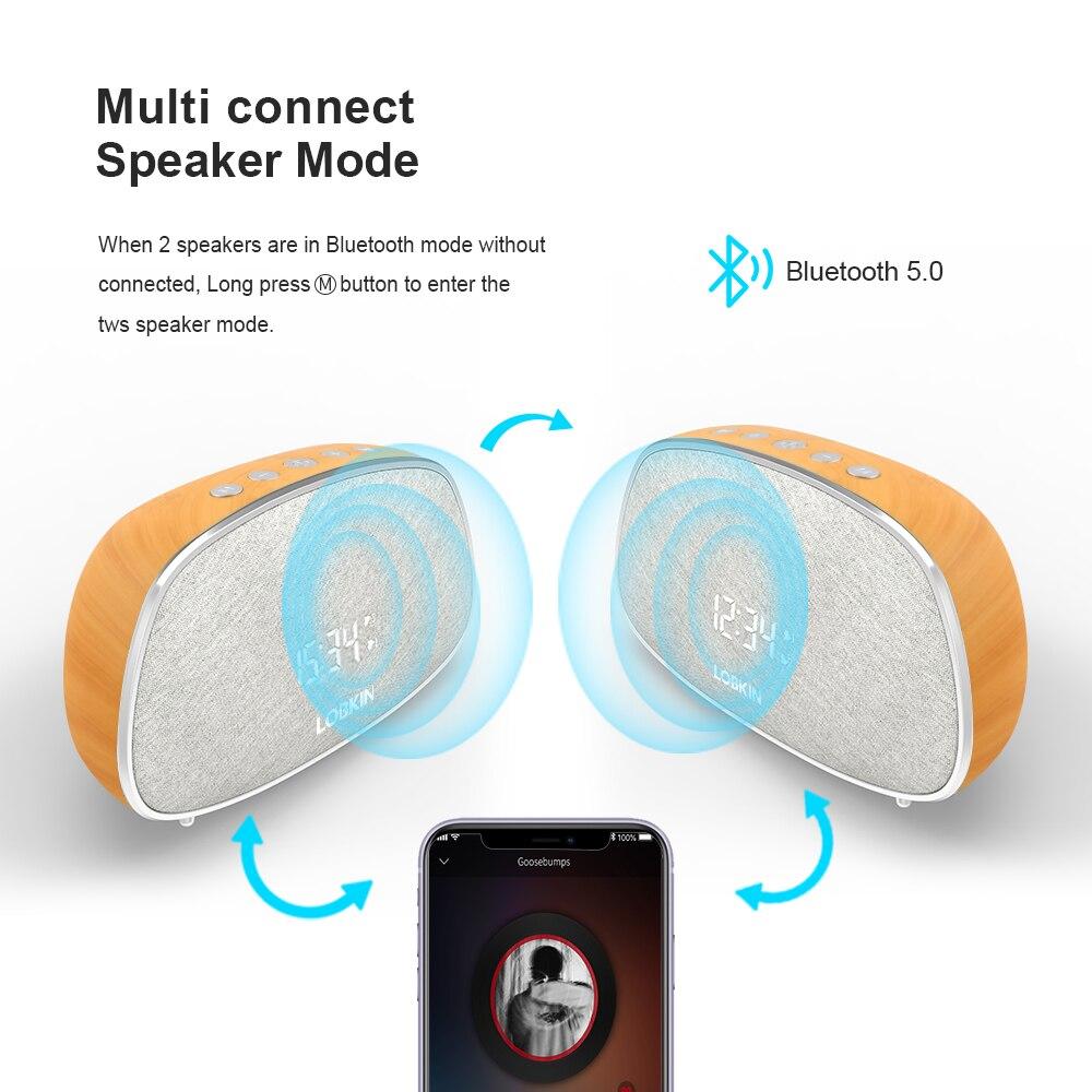 LOBKIN Wood Retro Elegent Bluetooth Speaker Wireless Outdoor Loudspeaker Portable FM Radio Electronic Snooze Alarm Clock Speaker enlarge