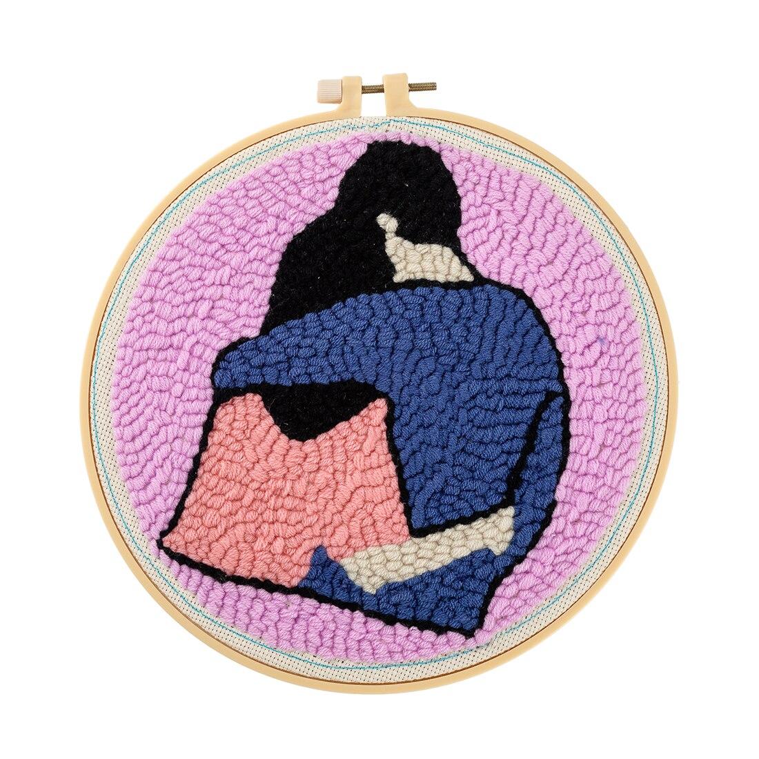 DIY Alfombra de lana de punto hecha a mano Kit de enganche hecho a mano Bordado de lana regalo creativo con 21cm marco punzón aguja-abrazo