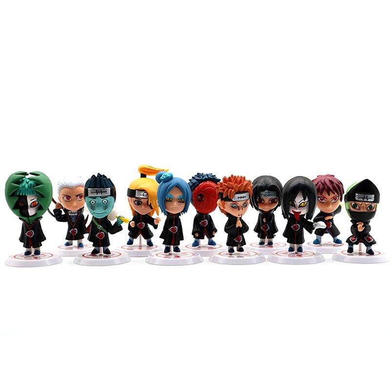 11 modelos naruto q versão figura de ação anime 7-8cm estátua coleção desktop decoração brinquedos para crianças garantia de qualidade figma