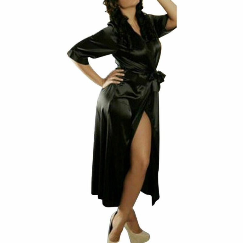 Для женщин пижамы сексуальный шелк кружево сатин кимоно халат Дамское белье невесты халаты с поясом batas de seda de mujer