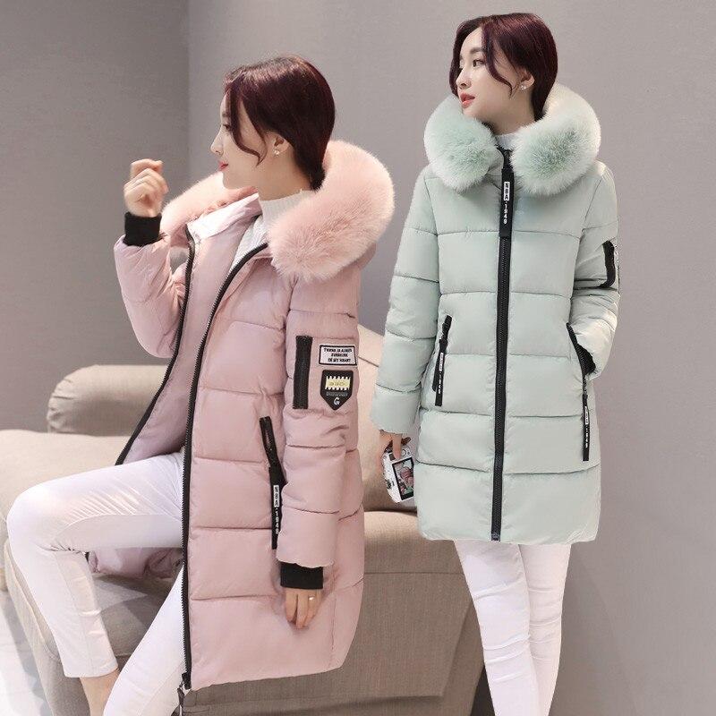 Женские парки SYJ, зимние женские повседневные длинные пальто, женские куртки, зимние женские хлопковые парки с капюшоном и меховым воротник...