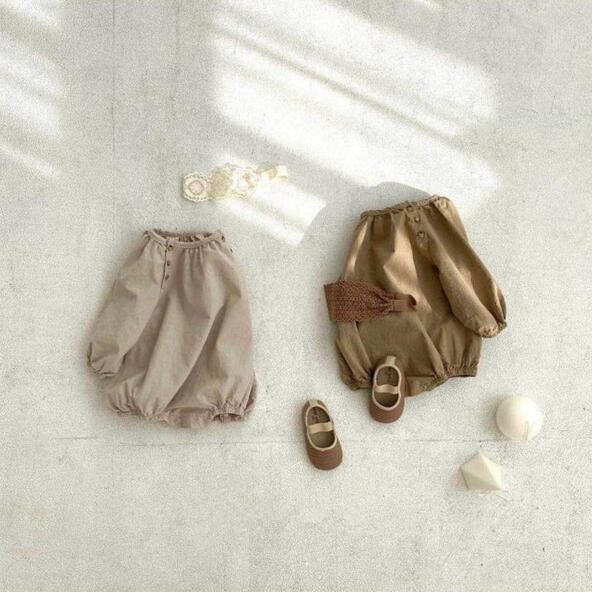 2021 Autumn New Baby Clothes Solid Bodysuit Double Breasted Outfits Long Sleeve Newborn Clothing