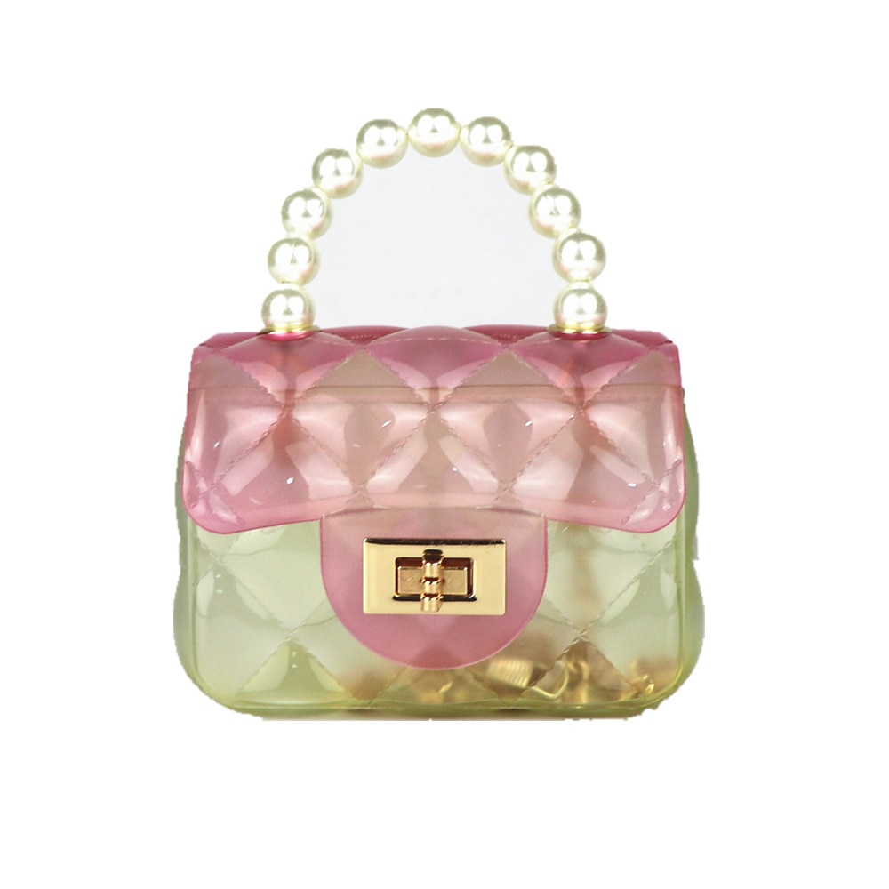 PVC Tote Silicone Small Hand Bags ,Pearl Mini Chain Shoulder Handbag for Girls,Transparent Bag PVC Tote Hand Bags