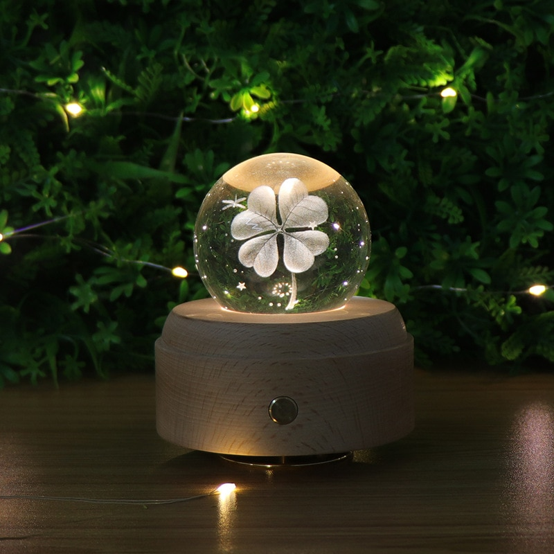 Moon Crystal Ball Night Light Wooden Music Box Music Box Rotary Innovative Birthday Gift Touch dimming little Prince Clover