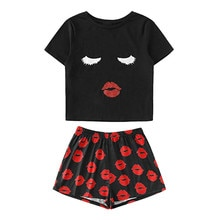 Stylish Bar Novelty Lips Graphic Tops Shorts Sleepwear Pajama Set Women Casual Shorts Short Sleeve Slim Tee Shirt Nightwear Sets