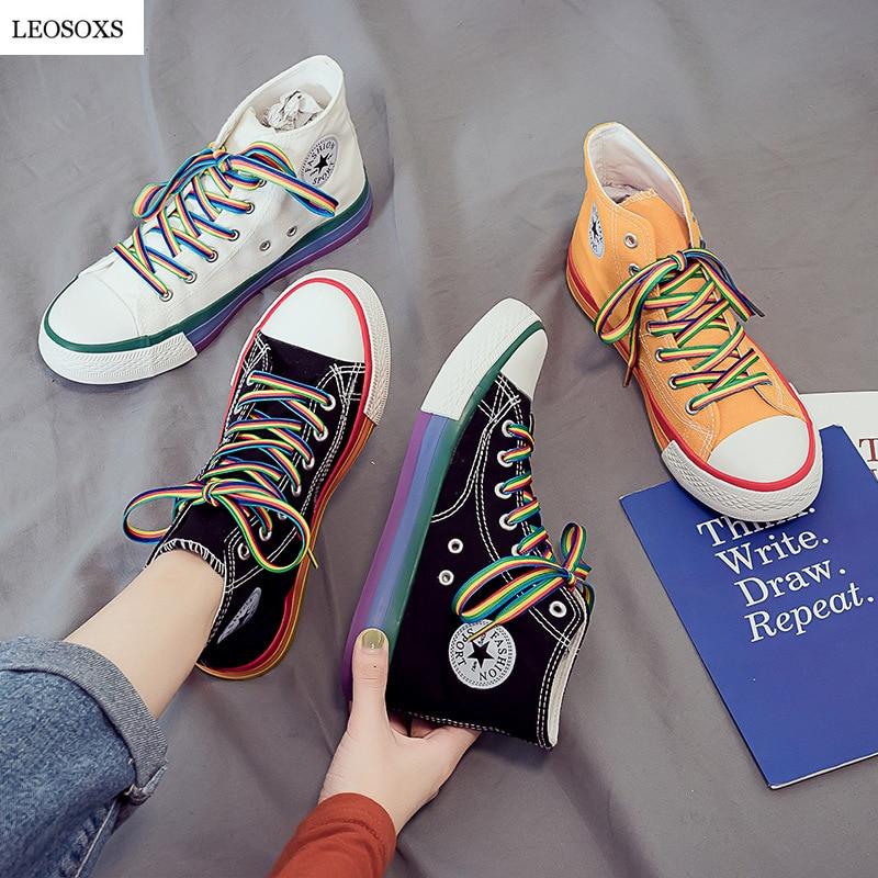 AliExpress - LEOSOXS Rainbow Bottom Casual Shoes Woman High-Top Sneakers Canvas Shose Women Female Casual Shoes White Canvas Sneakers Autumn