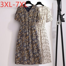 New 2020 summer plus size dress for women large short sleeve loose chiffon floral print dresses white blue 3XL 4XL 5XL 6XL 7XL