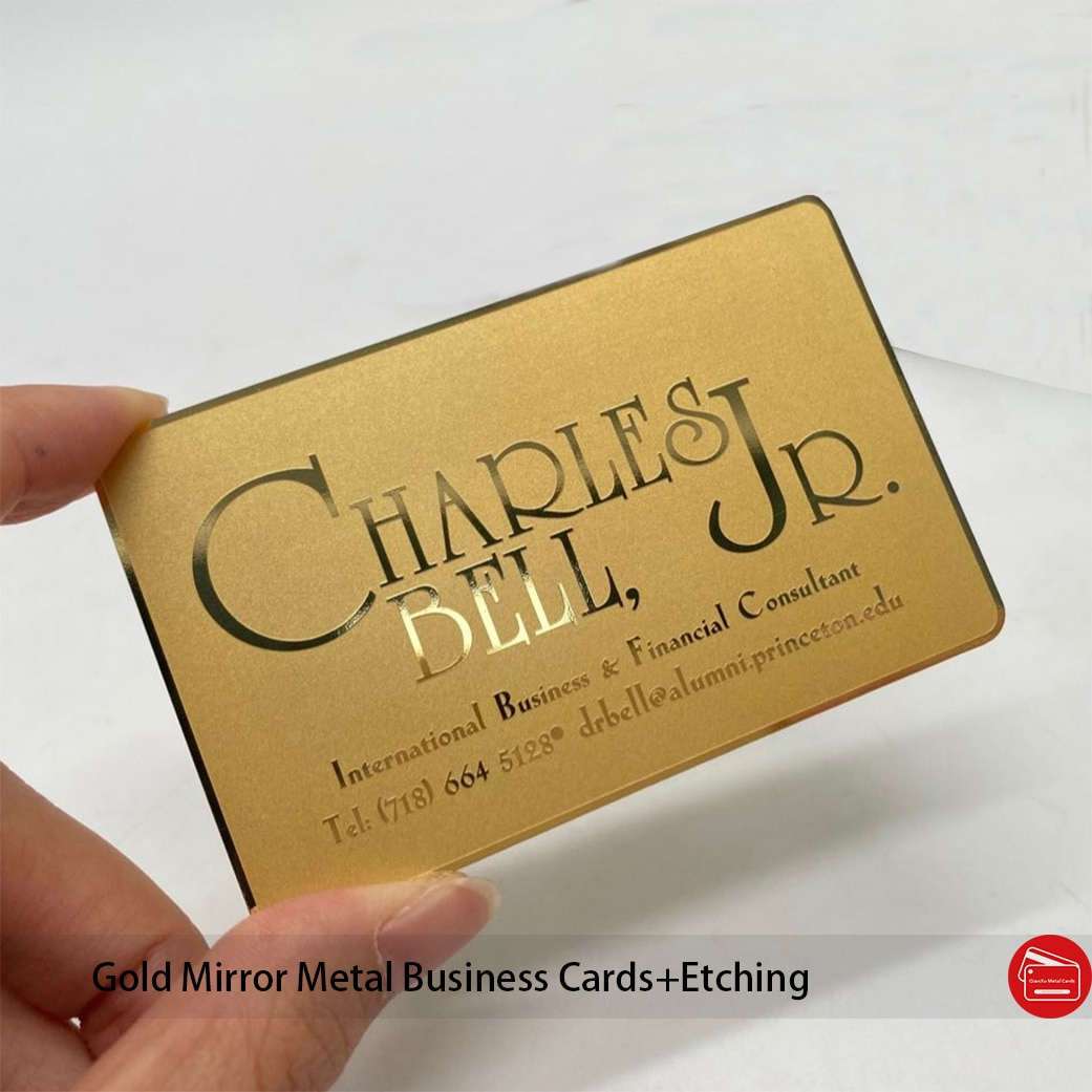 Free design bulk custom mirror gold metal card etching name metal business card