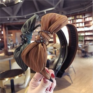 New high-end hair accessories women's striped plaid fabric with diamonds super flash rabbit ears bow headband hairband headwear