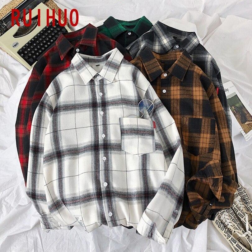 RUIHUO 2020 New Spring Long Sleeve Red Black Plaid Shirt Men Slim Fit Cotton Casual Shirts Men Clothing Fashion Brand M-3XL