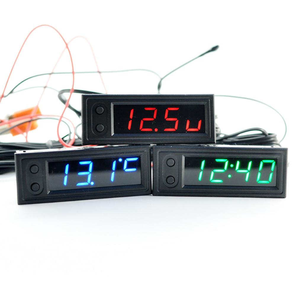 New Diy Multifunction High-precision Clock Inside And Outside Car Temperature Battery Voltage Monito