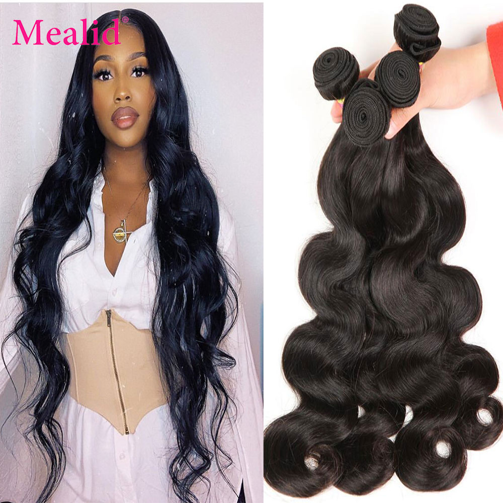 Mealid Peruvian Body Wave Bundles 100% Remy Human Hair Extensions Natural Color 100G Machine Double