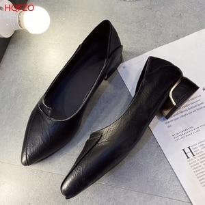 HQFZO Sandalet Womens Chunky Heels Sandals Pumps Pointed Toe Leather Office Low Heels Pumps  Woman Shoes Lady Female Shoes