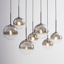 Loft bola de vidro prata ouro moderno pingente luz pendurado lâmpada hanglamp cozinha luminária sala estar jantar iluminação