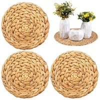 1pc round placemat woven placemats round water hyacinth weave placemat braided rattan tablemats