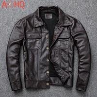 american cowboy vintage genuine cow leather jackets men brown single breasted slim cowskin real leather coats motorcycle biker
