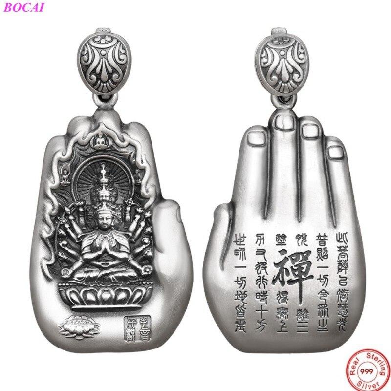 BOCAI S999 فضة قلادة الحياة الأصلية بوذا بطاقة 12 زودياك ثمانية الوصي الآلهة القلب سوترا التايلاندية الفضة الحرفية قلادة