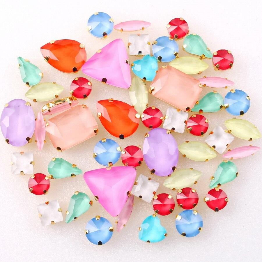 Garra dorada en miniatura, 50 unids/bolsa, mezcla de formas de gelatina, colores pastel, cristal para coser, diamantes de imitación, zapatos de boda, bolsas diy
