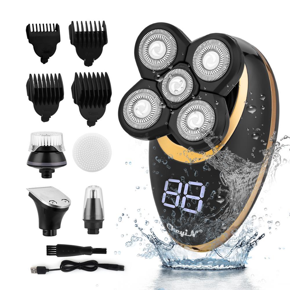 5 in1 الحلاقة الكهربائية العائمة رؤساء الرجال USB قابلة للغسل أصلع مقص الشعر اللحية الأنف الأذن الشعر المتقلب ماكينة حلاقة
