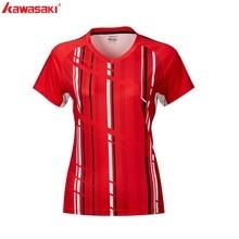 Kawasaki Marken Neue Tennis Shirts Sportswear Damen V-ausschnitt Atmungs Badminton Shirts frauen Kleidung ST-R2206 ST-R2210