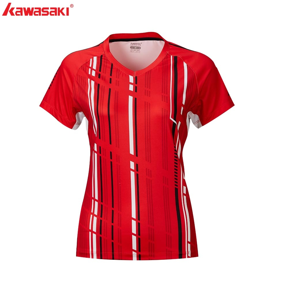 ¡Novedad! Camisetas de tenis Kawasaki, ropa deportiva con cuello en V para mujer, camisetas transpirables de bádminton, ropa de mujer, ST-R2206 ST-R2210