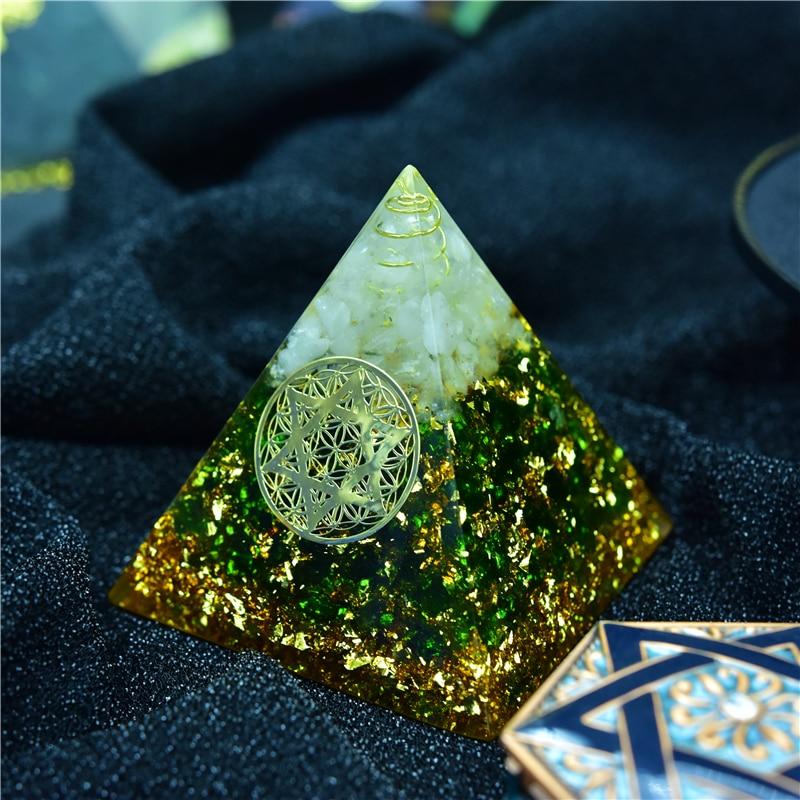 AURA REIKI Orgonite Chamuel Anahata Chakra Natural Crystal Eliminates Negative Energy Transparent Resin Pyramid Jewelry C0154