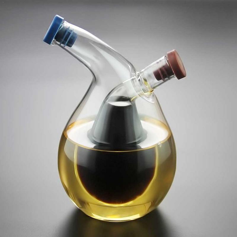 Dispensador de aceite de oliva 2 en 1, recipiente transparente para verduras