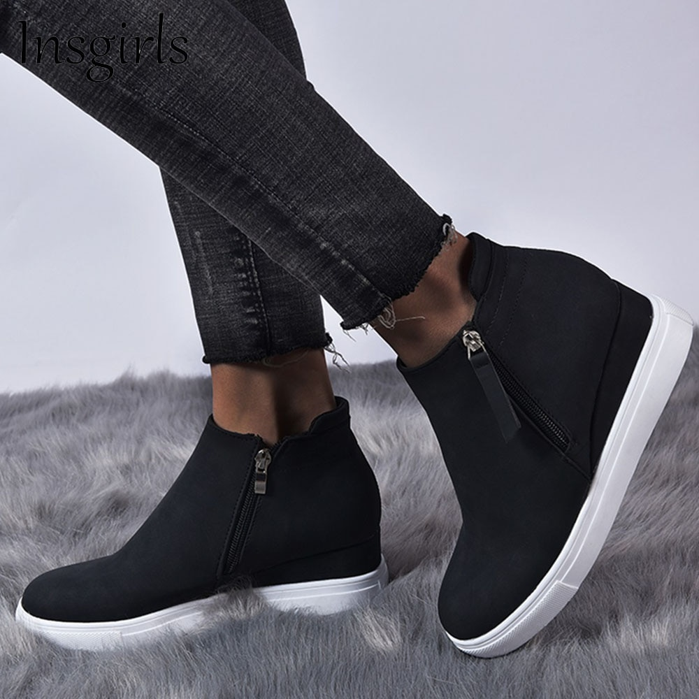 Women's Trendy Sneakers 2021 All Season Wedge Heel Comfy Casual Canvas Shoes 35-43 Large-Sized Femal