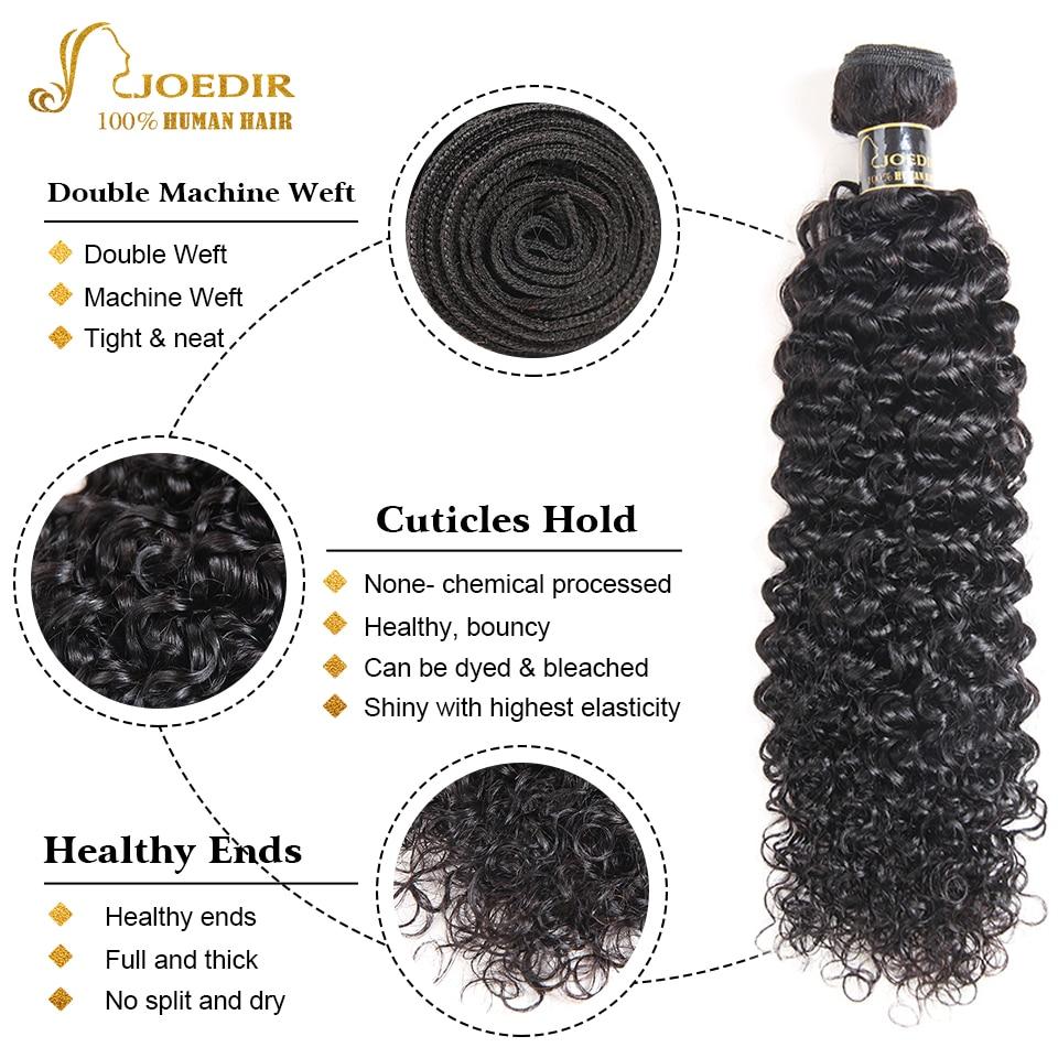 Joedir Kinky Curly Bundles with closure Human Hair bundles with closure Brazilian Hair Weave 3 Bundles With Closure Remy Hair