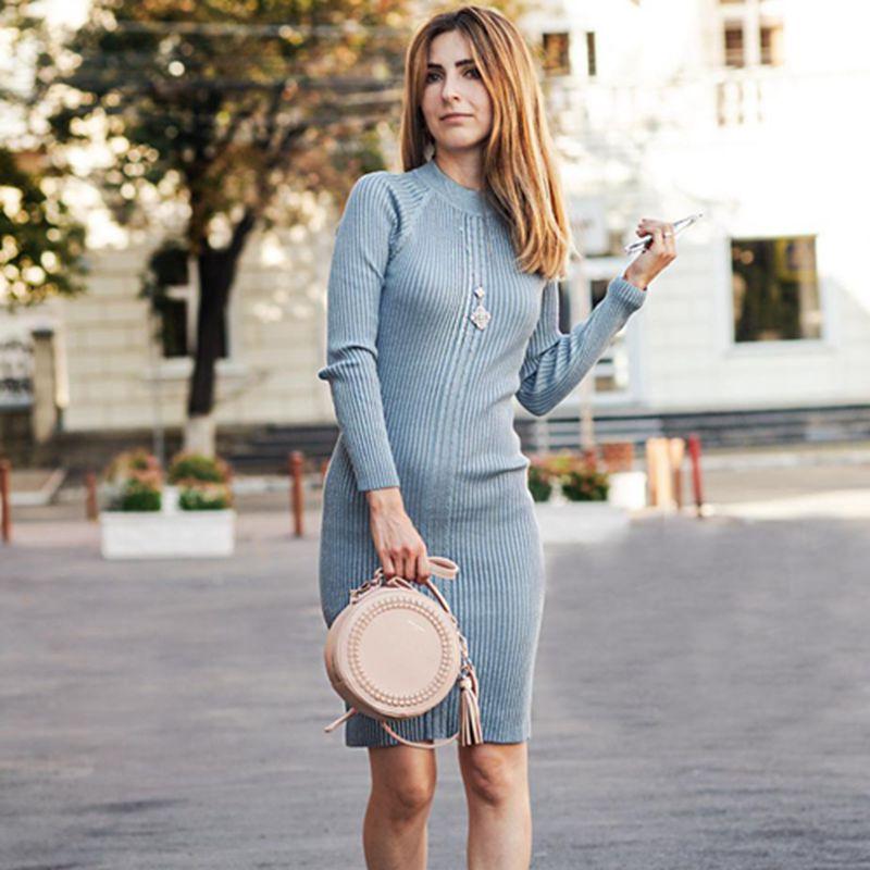 BYGOUBY-robe tricotée pour femmes, longueur aux genoux, Lurex et paillettes, robe pull épais et chaud, col rond, côtelée, automne