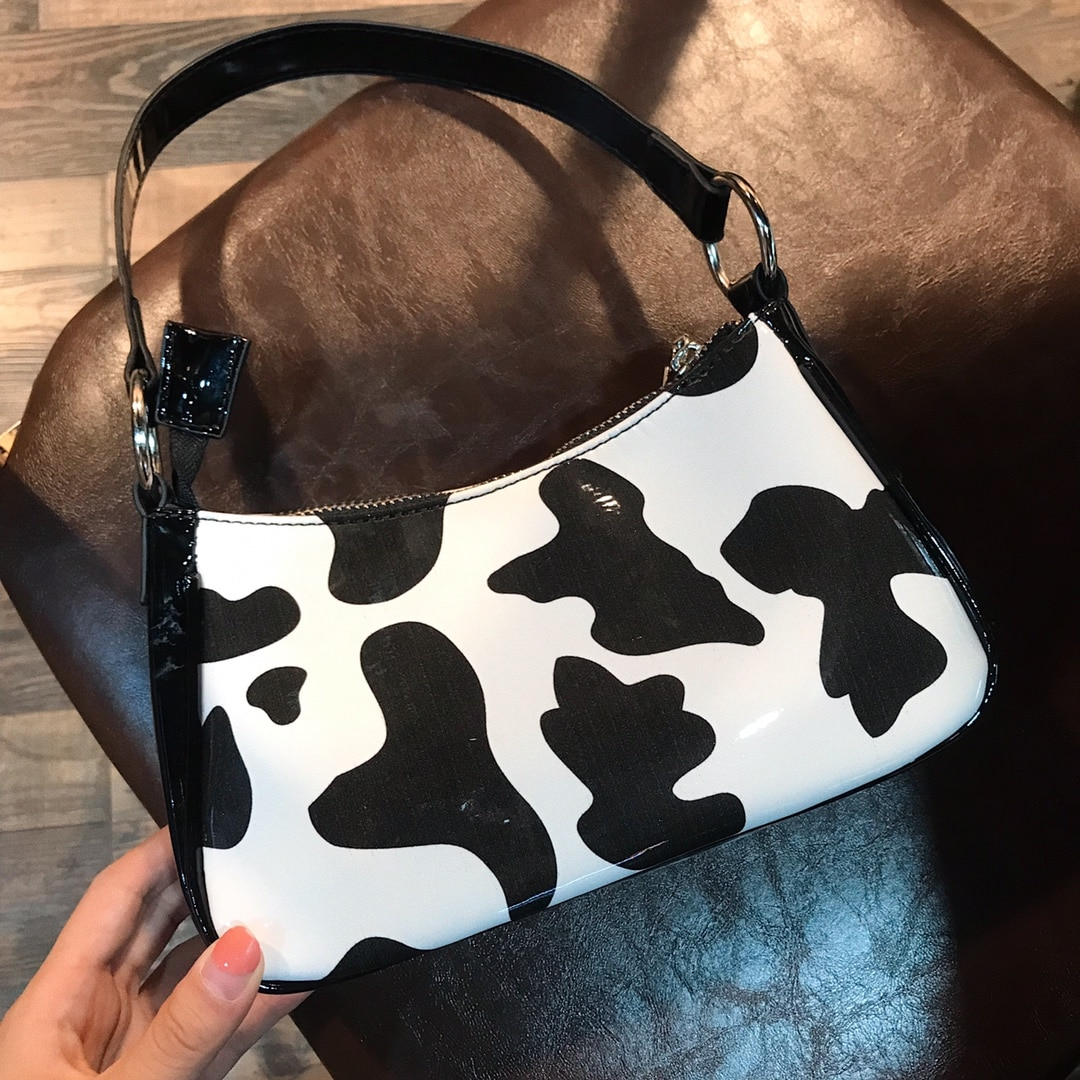 Simple New Fashion Women Cow Pattern Underarm Bag High Quaality PU Leather Ladies Small Shoulder Bags Girls Purse and Handbags