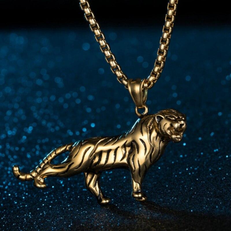 Collar con colgantes de Tigre a la moda, collares de tigre dominantes de Color dorado y plateado con piedras de Hip Hop, regalo de joyería de Animal Unisex Retro