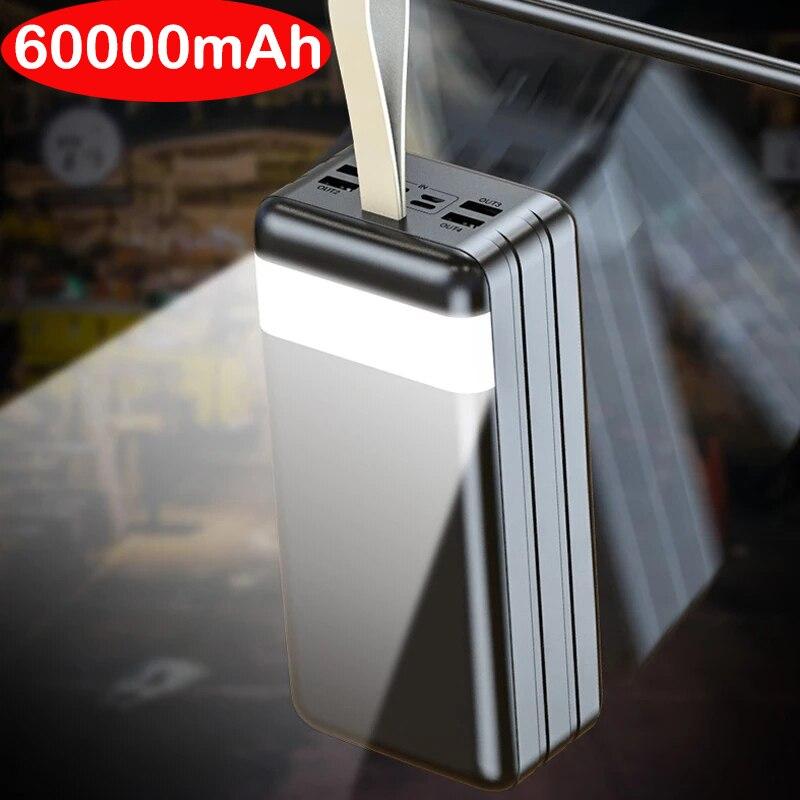 60000mAh قوة البنك المحمولة شحن سريع Poverbank بطارية خارجية شاحن باوربانك مع مصباح ليد جيب للهواتف أقراص