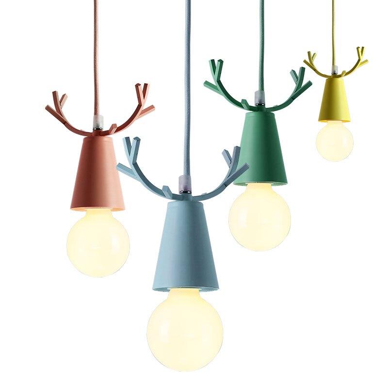 moderno cervos pingente luzes natal chifres pendurado lampadas macaron criancas quarto