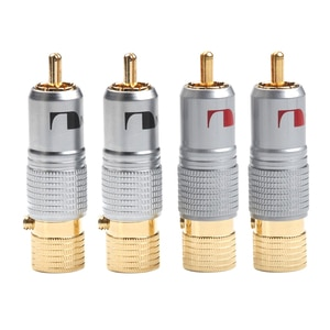 4PCS Gold Plated 10mm RCA Plug Non Locking Solder Plug RCA Coaxial Socket Adapter Connector