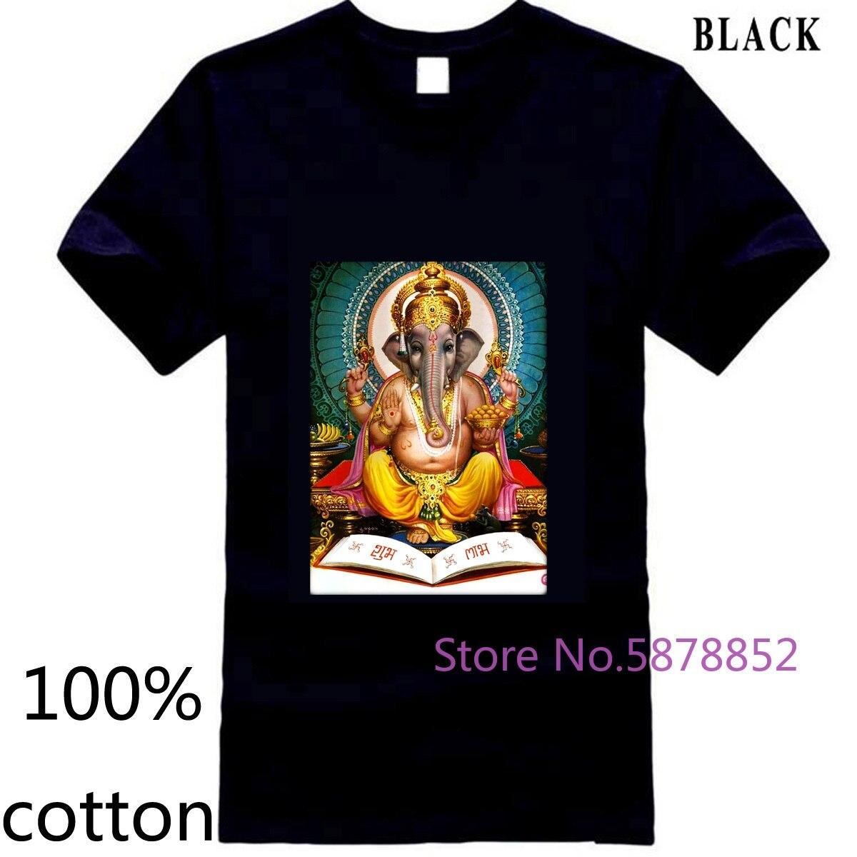 Ganesh Kali Shiva Krishna hinduismo yoga diosa meditación para hombres camiseta Normal para hombres camisetas tops 100% algodón