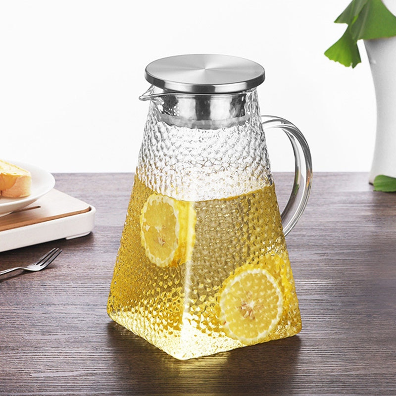 1200ml/1500ml/1800ML Transparent Glass Water Jug Heat Resistant Carafe Juice Tea Pot Kettle Pitcher With Stainless Steel Filter