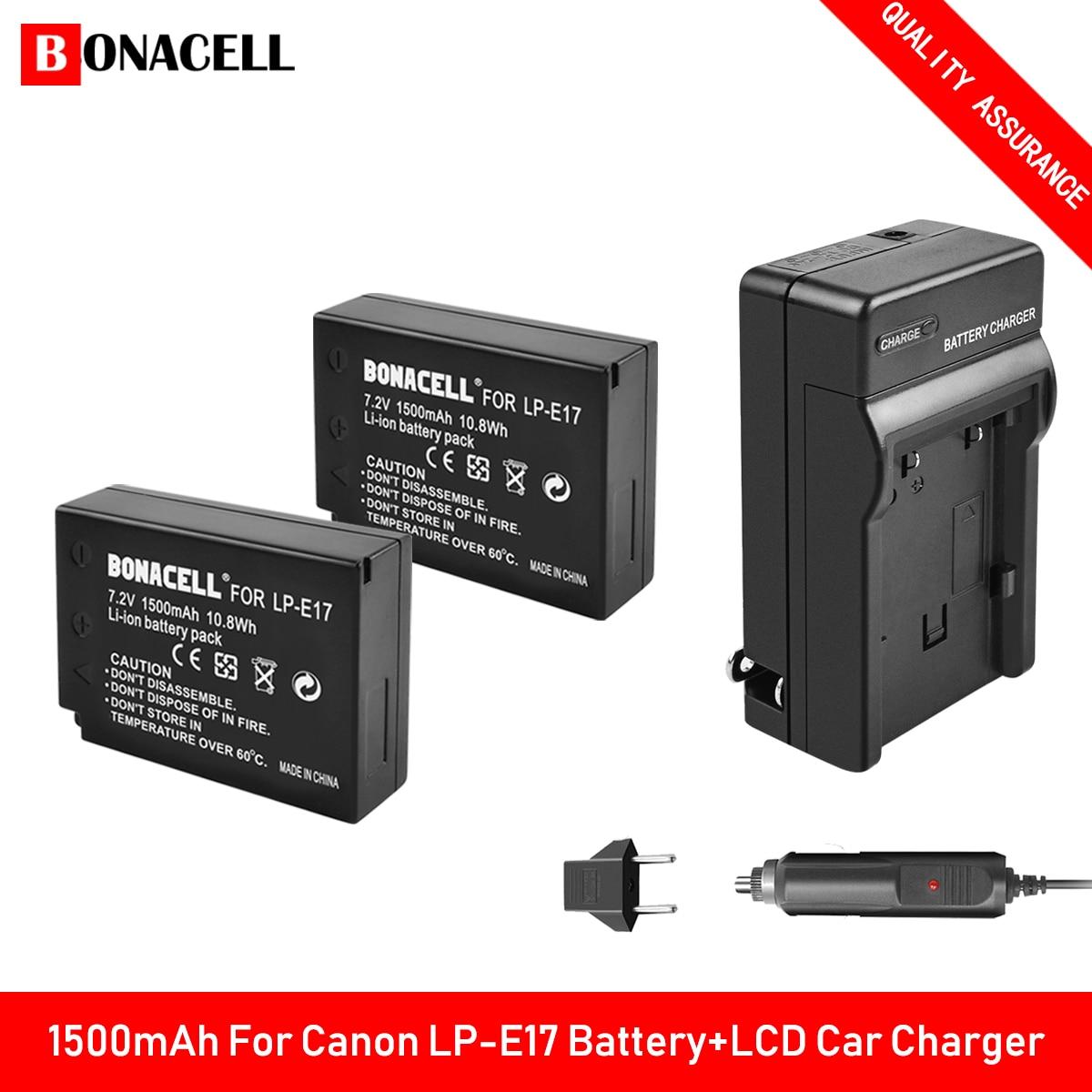 Bonacell LP-E17 LPE17 LP E17 Bateria + Carregador de Carro para Canon Rebel EOS M3 M5 M6 T6i T7i EOS 77D 750D 760D T6i T6s 800D 8000D Z70
