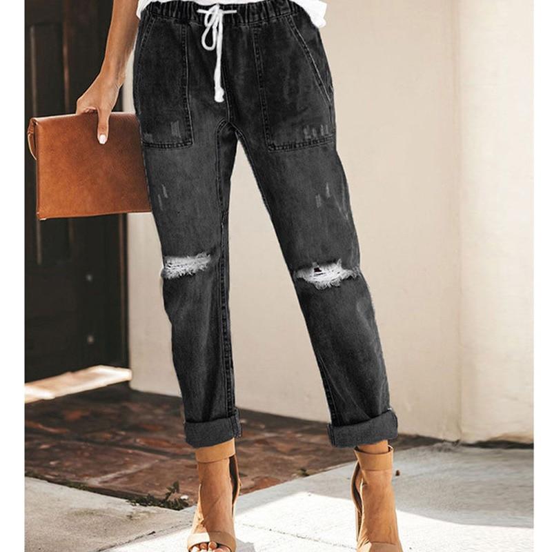 Женские эластичные джинсовые брюки на завязках 2021, потертые джинсы, джоггеры, корейские повседневные женские брюки, модные популярные брюк...