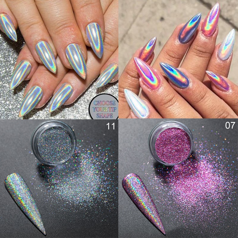 AliExpress - Holographics Powder Nail Glitter Laser Silver Pink Glitter Chrome Nail Powder Shimmer Gel Polish Flakes for Pigment Dust