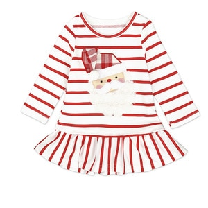Girls Christmas Dress Europe New Year Girls Long Sleeve Dress Spring and Autumn Cartoon Striped Children Dress 1-3y Girl Clothes