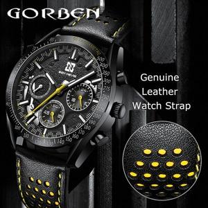 Gorben Top Brand Luxury Leather Strap Quartz Men Watches Casual Date Business Male Wristwatches Clock Relogio Masculino QW021